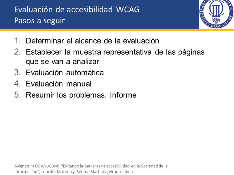 Evaluación de accesibilidad WCAG Pasos a seguir