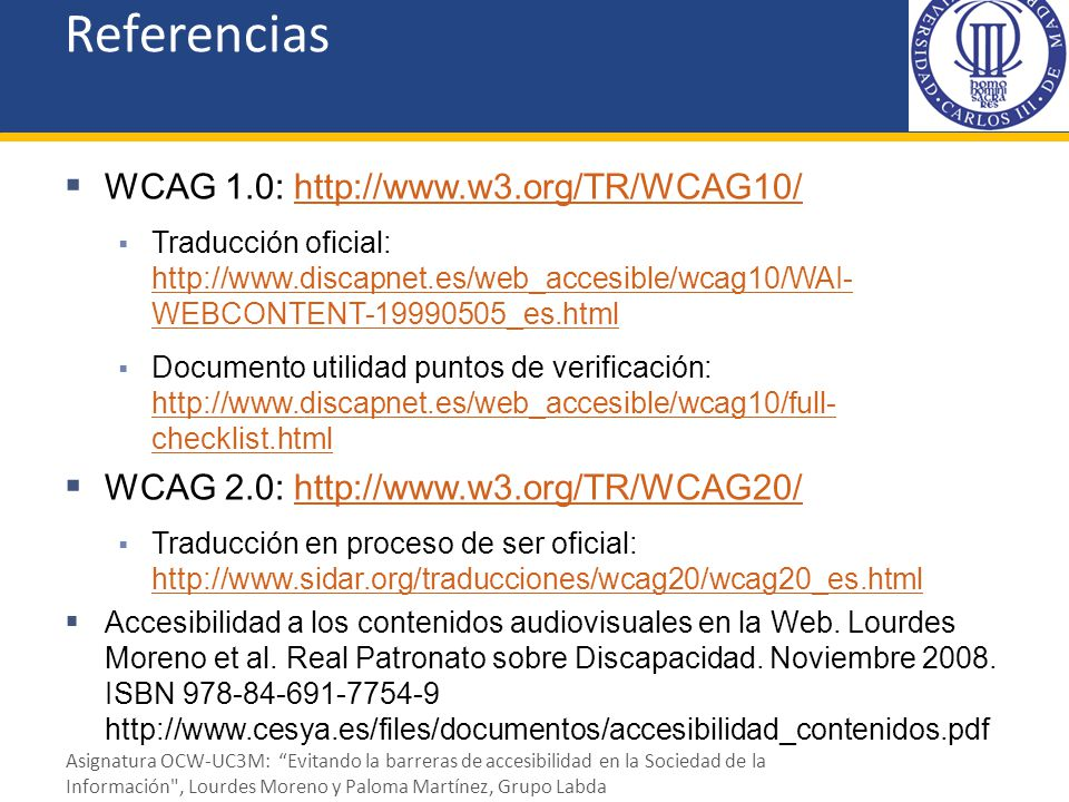 Referencias WCAG 1.0: