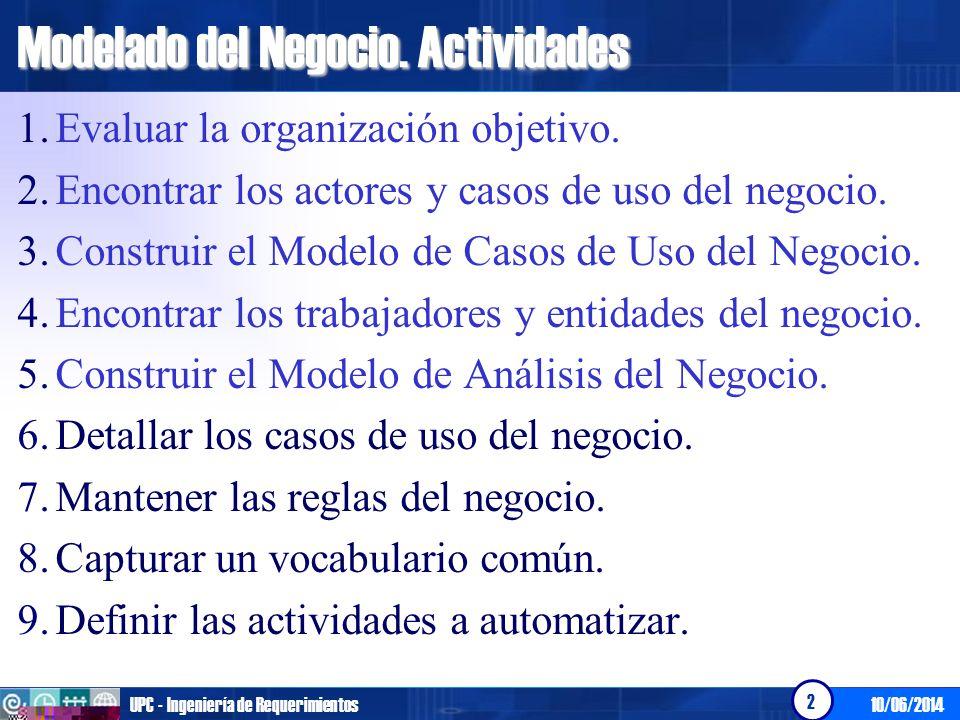 Modelado del Negocio. Actividades