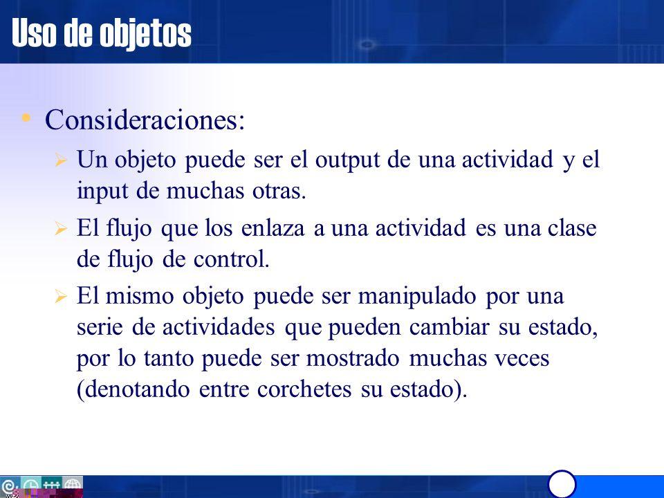 Uso de objetos Consideraciones: