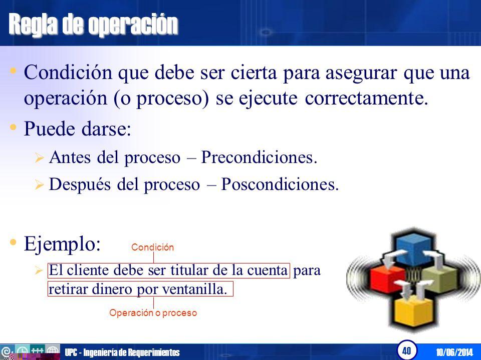 Regla de operación Condición que debe ser cierta para asegurar que una operación (o proceso) se ejecute correctamente.