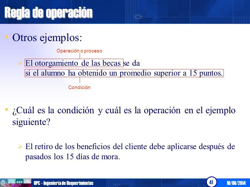 Regla de operación Otros ejemplos: