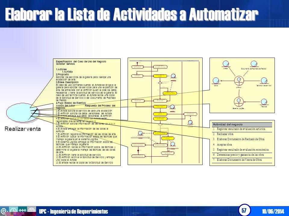 Elaborar la Lista de Actividades a Automatizar