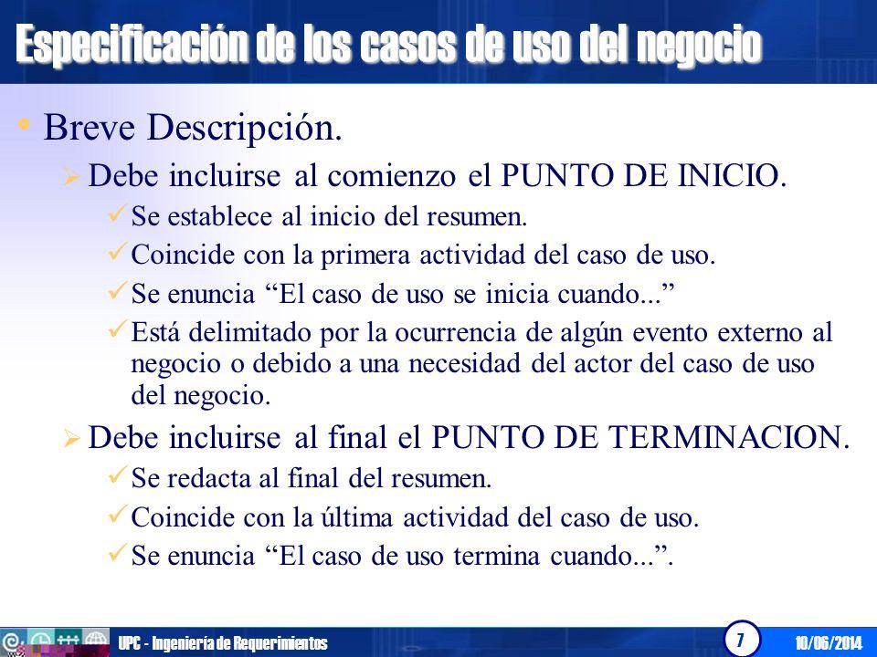 Especificación de los casos de uso del negocio