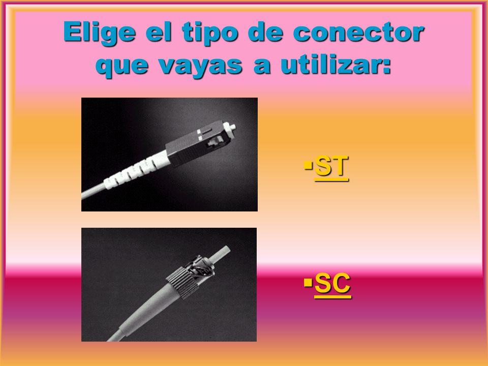 Elige el tipo de conector que vayas a utilizar: