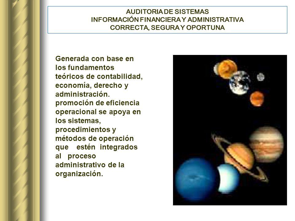 AUDITORIA DE SISTEMAS INFORMACIÓN FINANCIERA Y ADMINISTRATIVA CORRECTA, SEGURA Y OPORTUNA