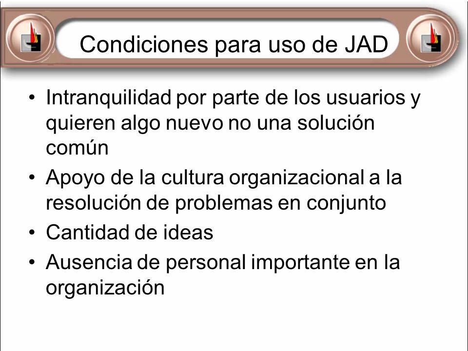 Condiciones para uso de JAD