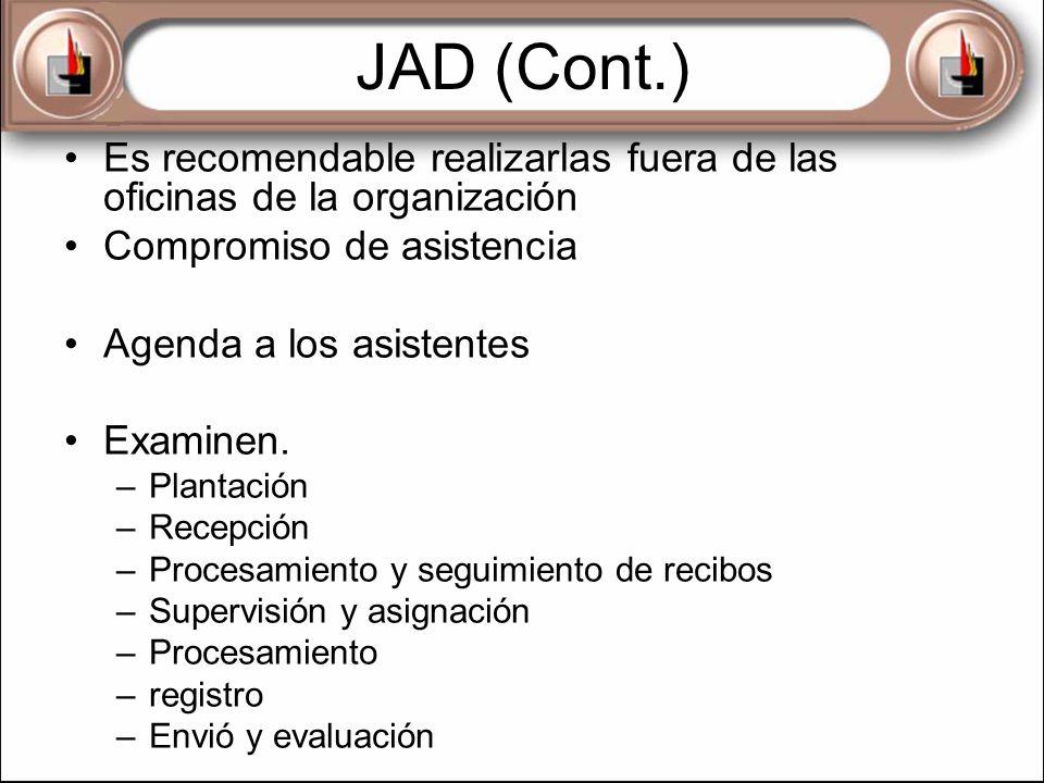 JAD (Cont.) Es recomendable realizarlas fuera de las oficinas de la organización. Compromiso de asistencia.