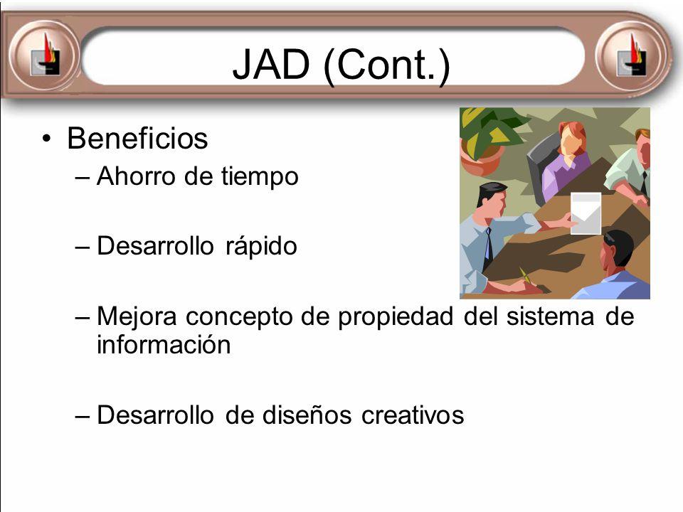 JAD (Cont.) Beneficios Ahorro de tiempo Desarrollo rápido