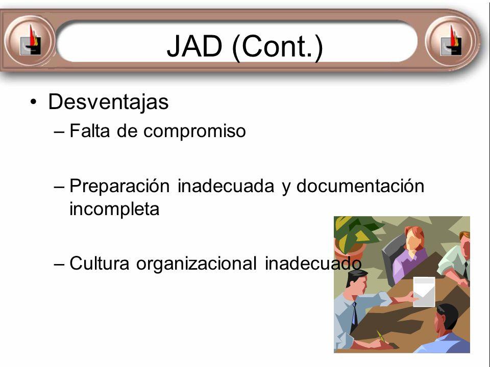 JAD (Cont.) Desventajas Falta de compromiso