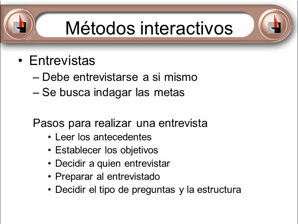 Métodos interactivos Entrevistas Debe entrevistarse a si mismo