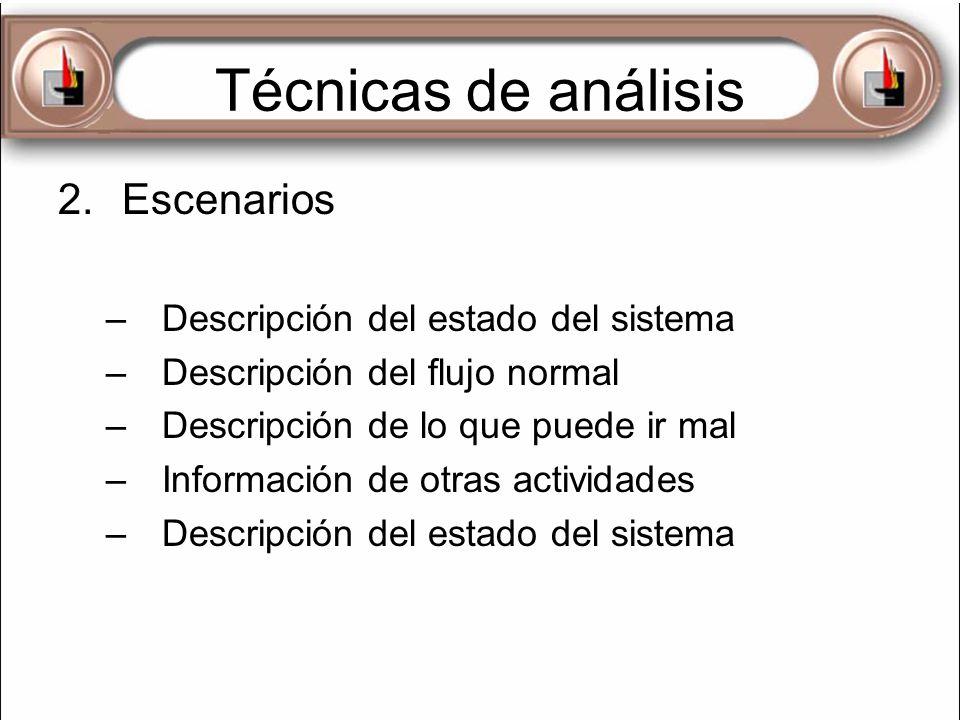 Técnicas de análisis Escenarios Descripción del estado del sistema