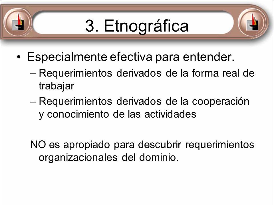 3. Etnográfica Especialmente efectiva para entender.