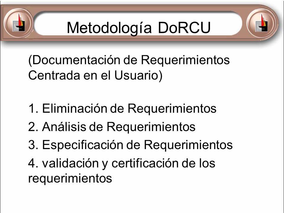 Metodología DoRCU (Documentación de Requerimientos Centrada en el Usuario) 1. Eliminación de Requerimientos.