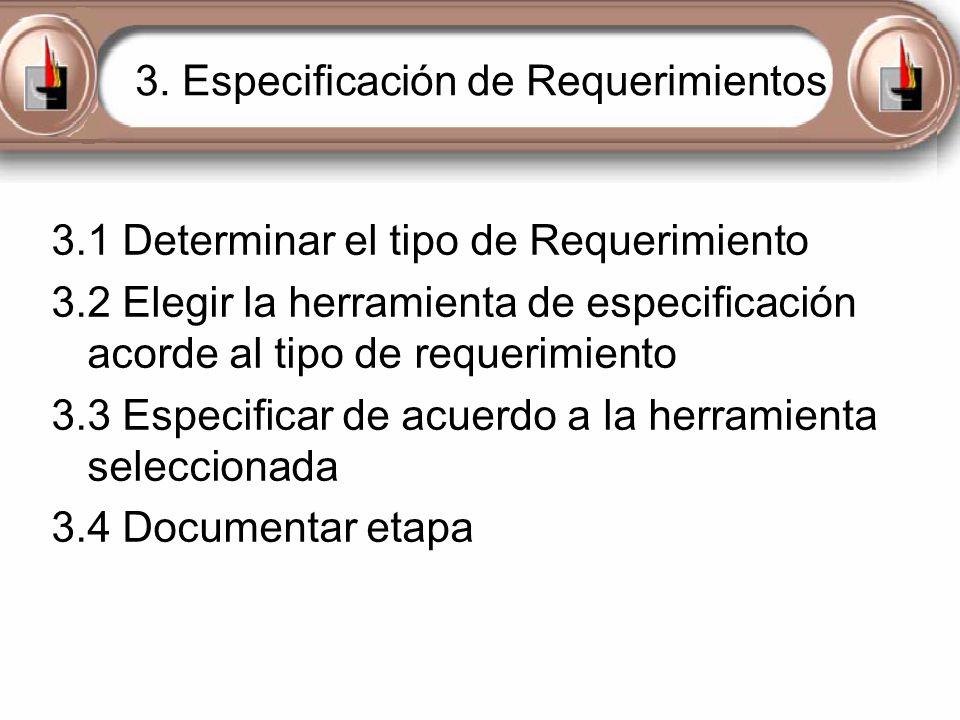 3. Especificación de Requerimientos