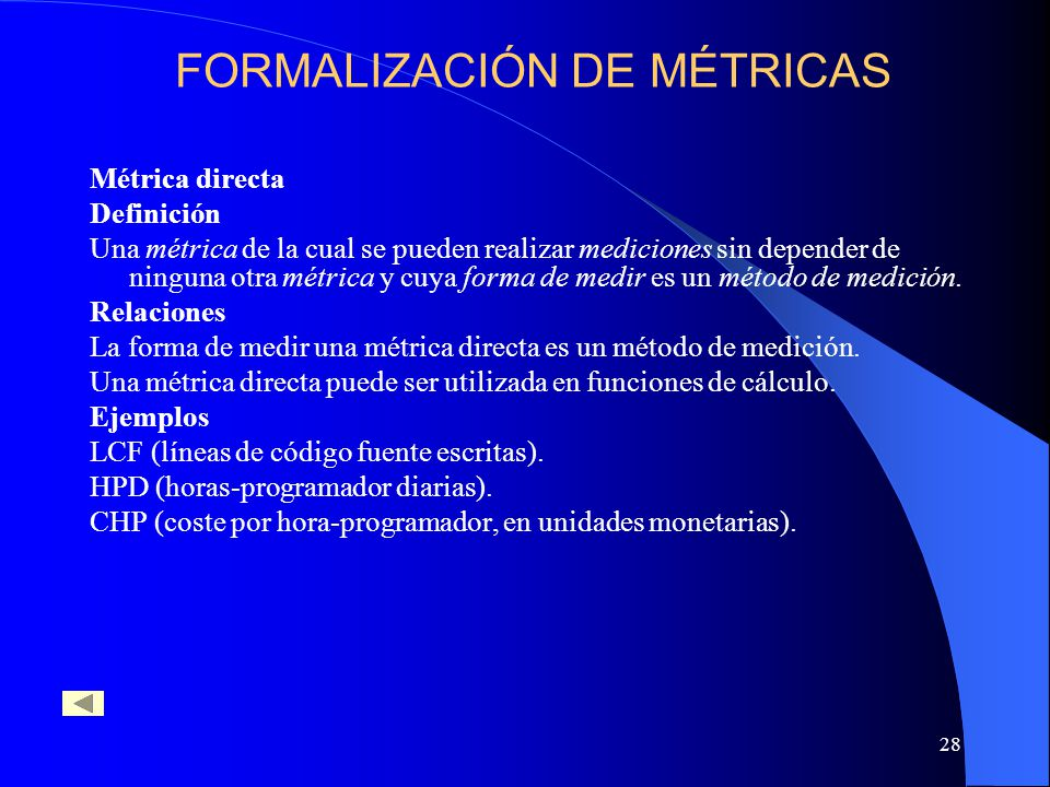 FORMALIZACIÓN DE MÉTRICAS