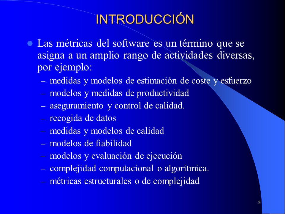 INTRODUCCIÓN Las métricas del software es un término que se asigna a un amplio rango de actividades diversas, por ejemplo: