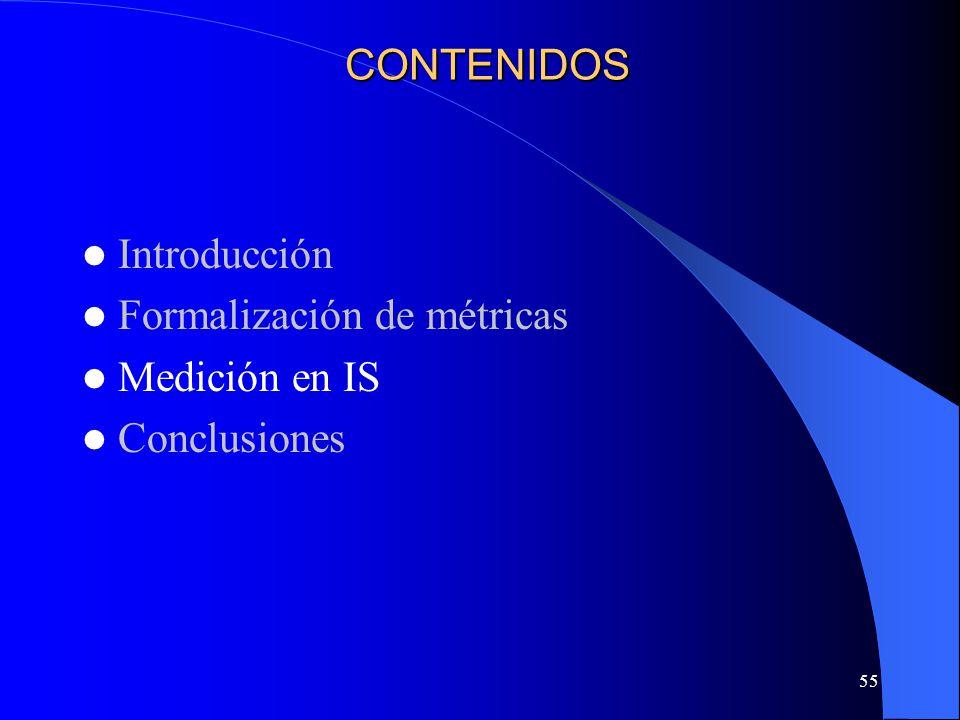 CONTENIDOS Introducción Formalización de métricas Medición en IS Conclusiones
