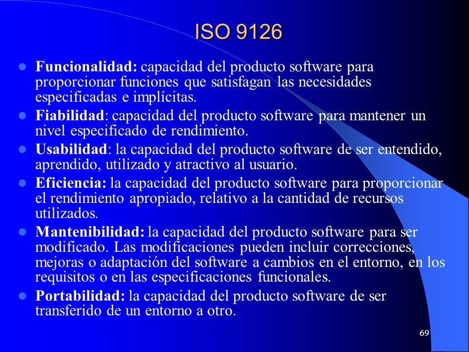 ISO 9126 Funcionalidad: capacidad del producto software para proporcionar funciones que satisfagan las necesidades especificadas e implícitas.