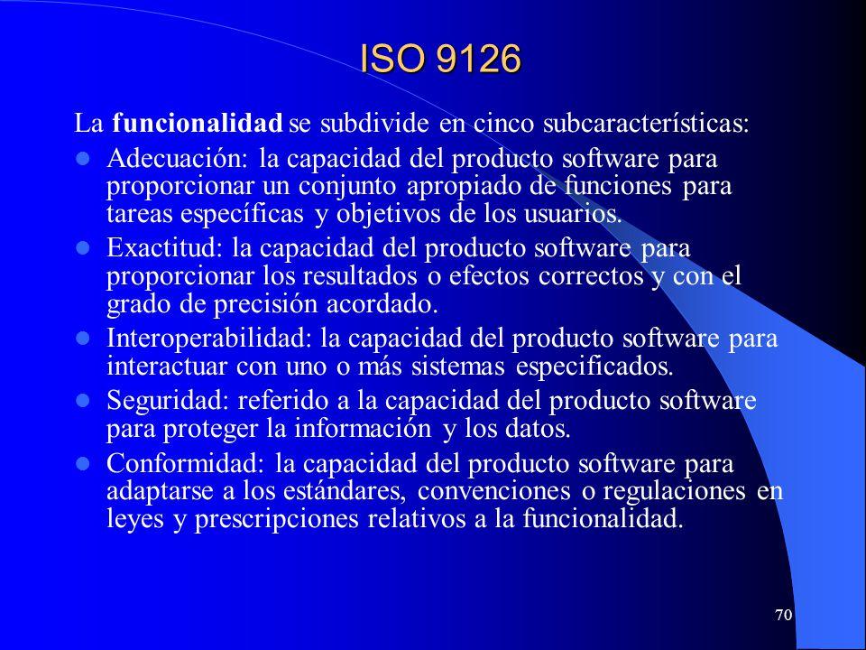 ISO 9126 La funcionalidad se subdivide en cinco subcaracterísticas: