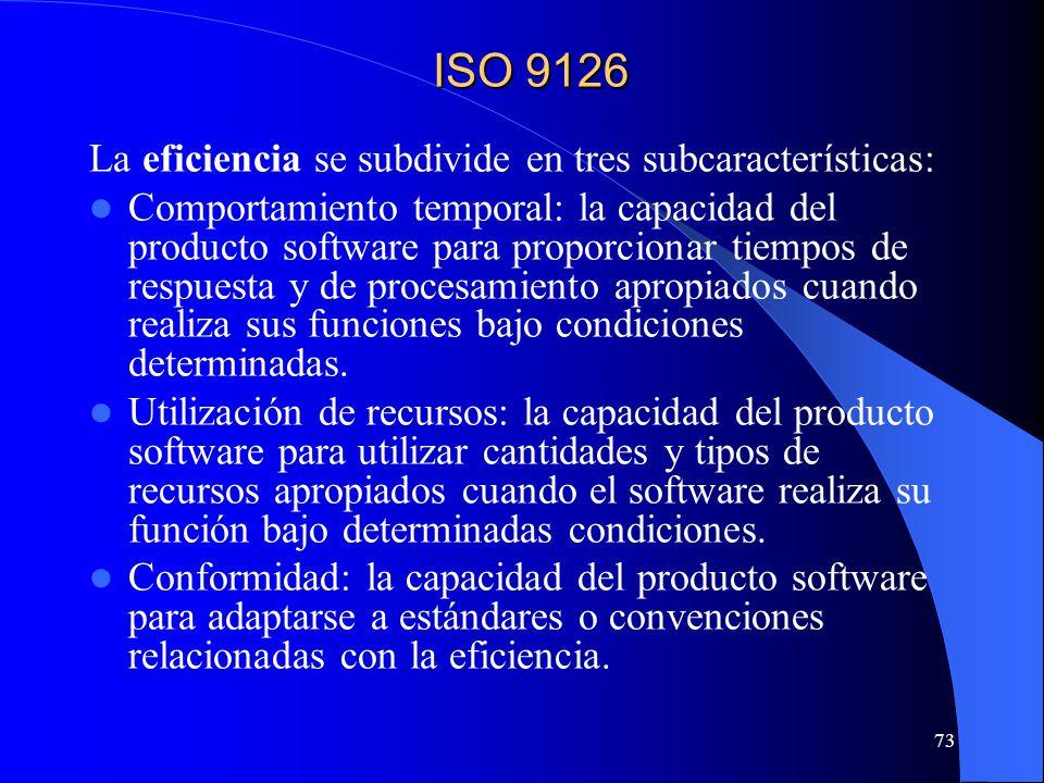 ISO 9126 La eficiencia se subdivide en tres subcaracterísticas: