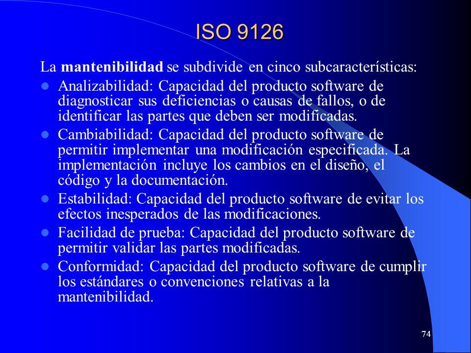 ISO 9126 La mantenibilidad se subdivide en cinco subcaracterísticas: