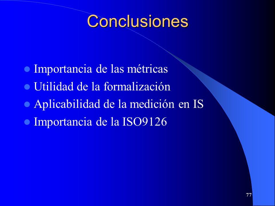 Conclusiones Importancia de las métricas Utilidad de la formalización