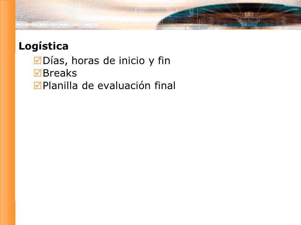 Días, horas de inicio y fin Breaks Planilla de evaluación final