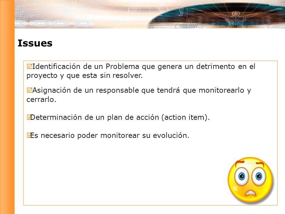 Issues Identificación de un Problema que genera un detrimento en el proyecto y que esta sin resolver.