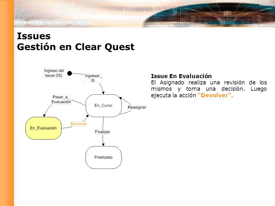 Issues Gestión en Clear Quest