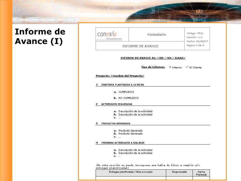 Informe de Avance (I)