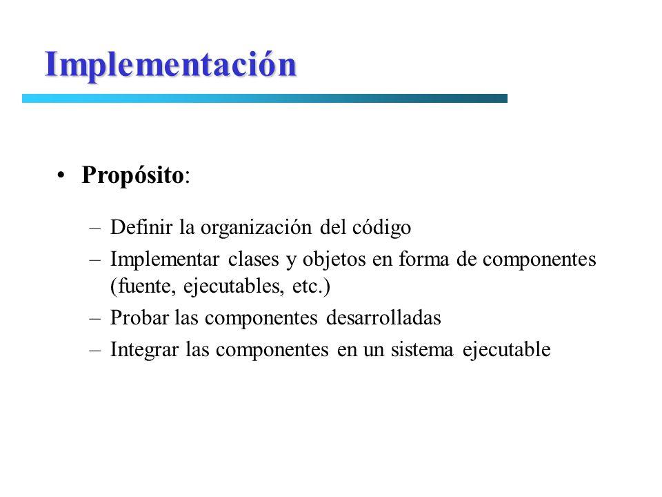 Implementación Propósito: Definir la organización del código
