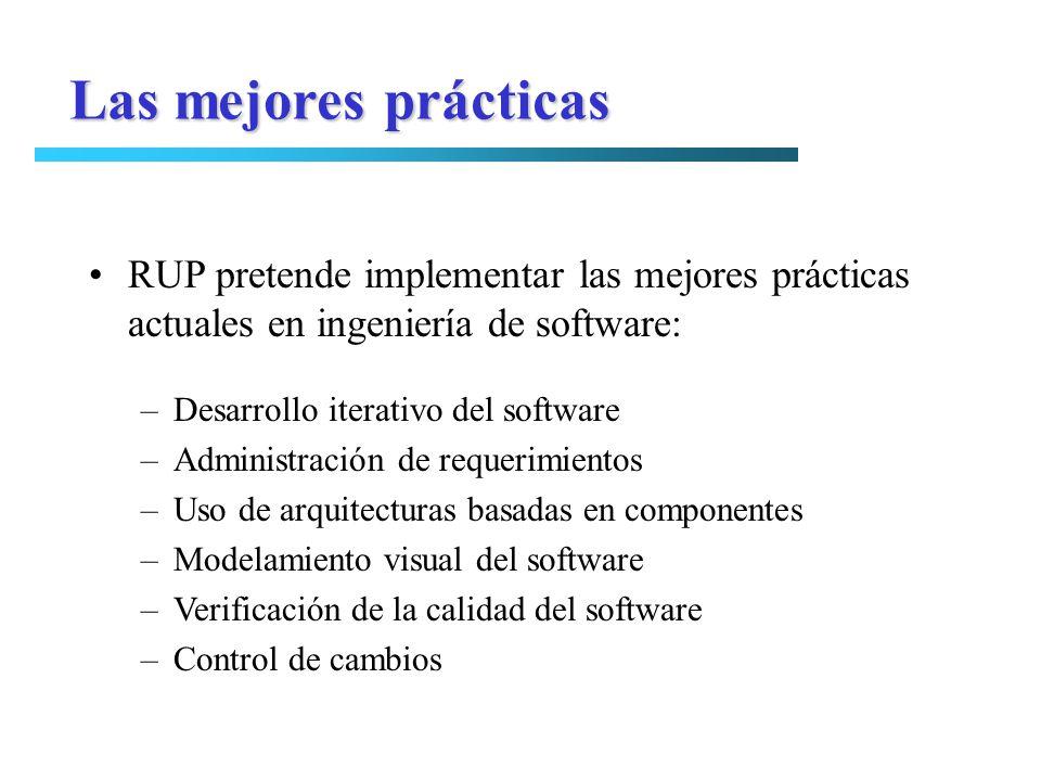 Las mejores prácticas RUP pretende implementar las mejores prácticas actuales en ingeniería de software: