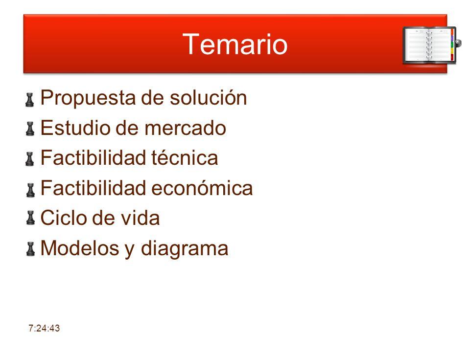 6:30:38 Temario. Propuesta de solución Estudio de mercado Factibilidad técnica Factibilidad económica Ciclo de vida Modelos y diagrama