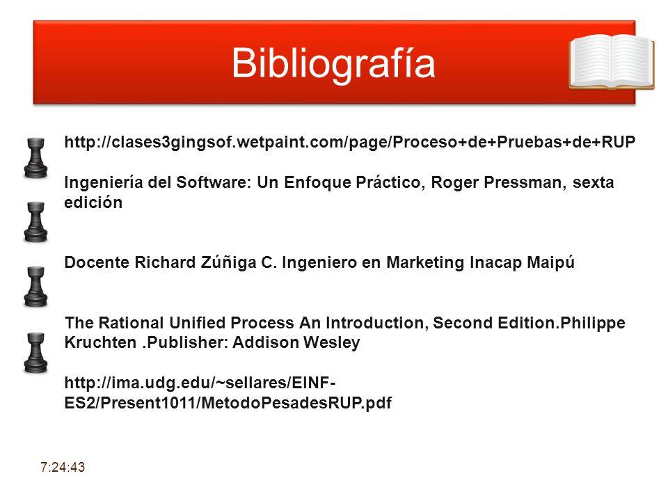 Bibliografía http://clases3gingsof.wetpaint.com/page/Proceso+de+Pruebas+de+RUP.