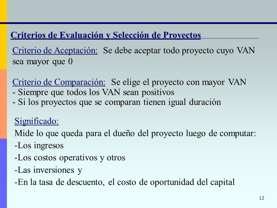 Criterios de Evaluación y Selección de Proyectos