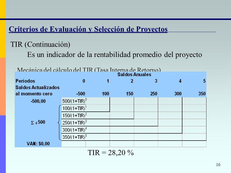 Criterios de Evaluación y Selección de Proyectos TIR (Continuación)