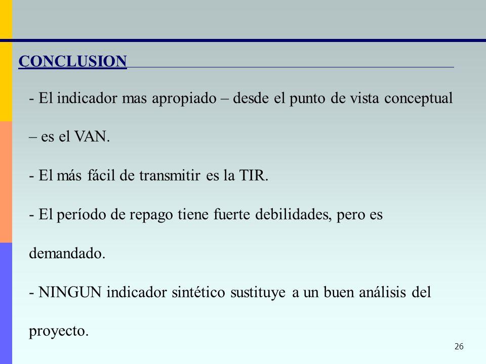 CONCLUSION El indicador mas apropiado – desde el punto de vista conceptual – es el VAN. El más fácil de transmitir es la TIR.