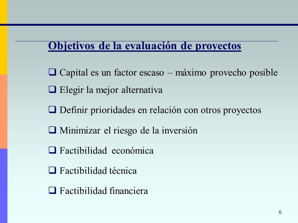 Objetivos de la evaluación de proyectos