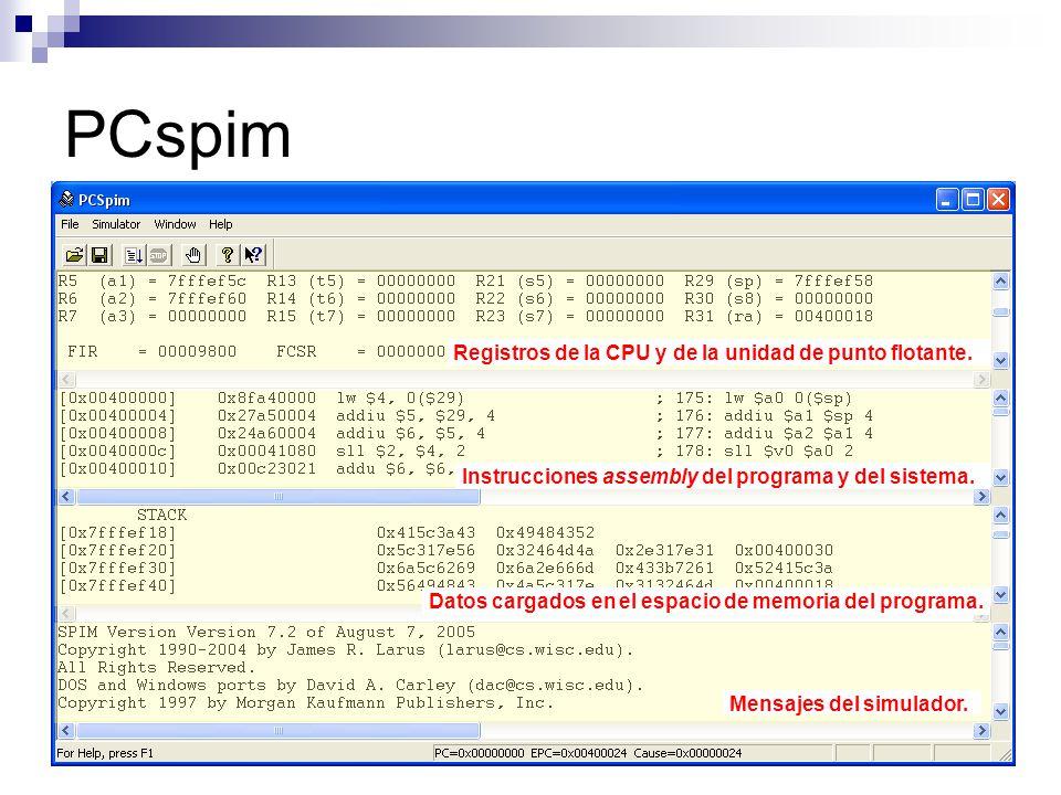 PCspim Registros de la CPU y de la unidad de punto flotante.