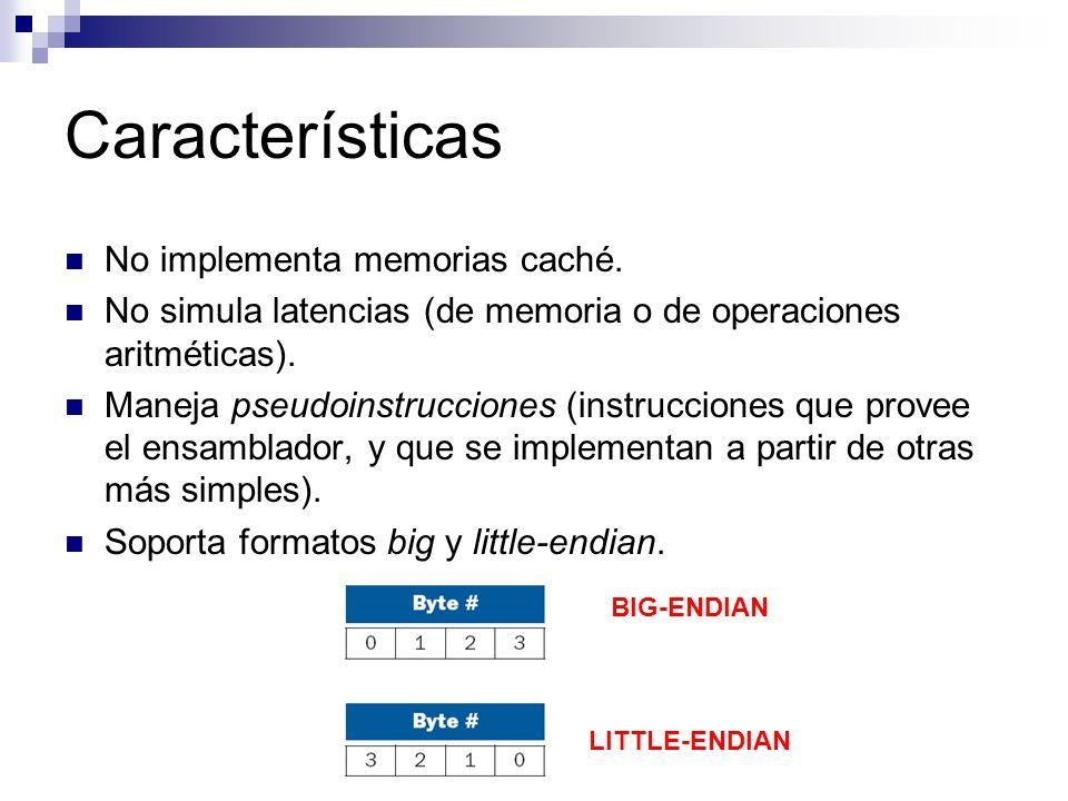 Características No implementa memorias caché.