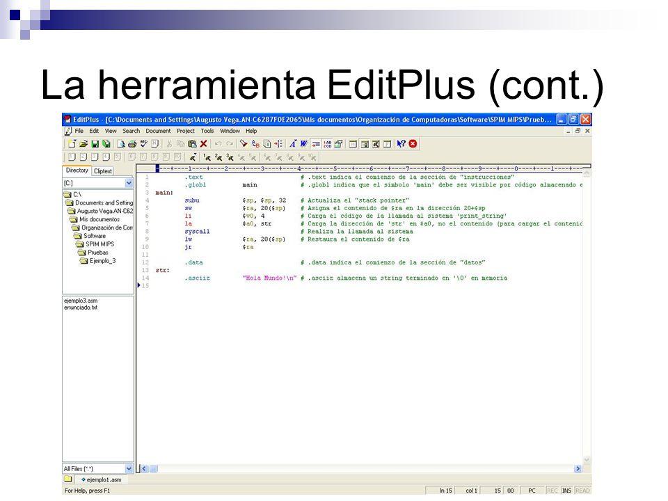 La herramienta EditPlus (cont.)