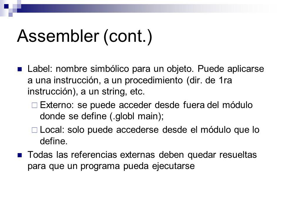 Assembler (cont.)