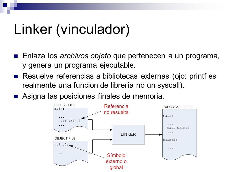 Linker (vinculador) Enlaza los archivos objeto que pertenecen a un programa, y genera un programa ejecutable.