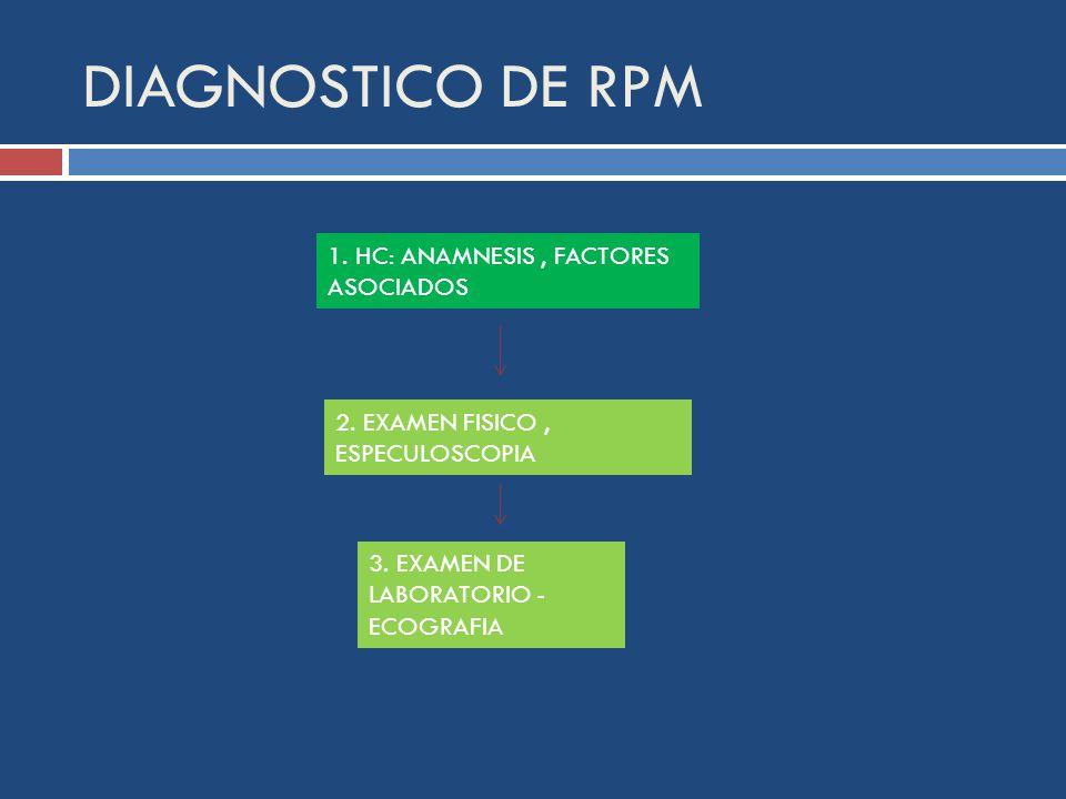 DIAGNOSTICO DE RPM 1. HC: ANAMNESIS , FACTORES ASOCIADOS