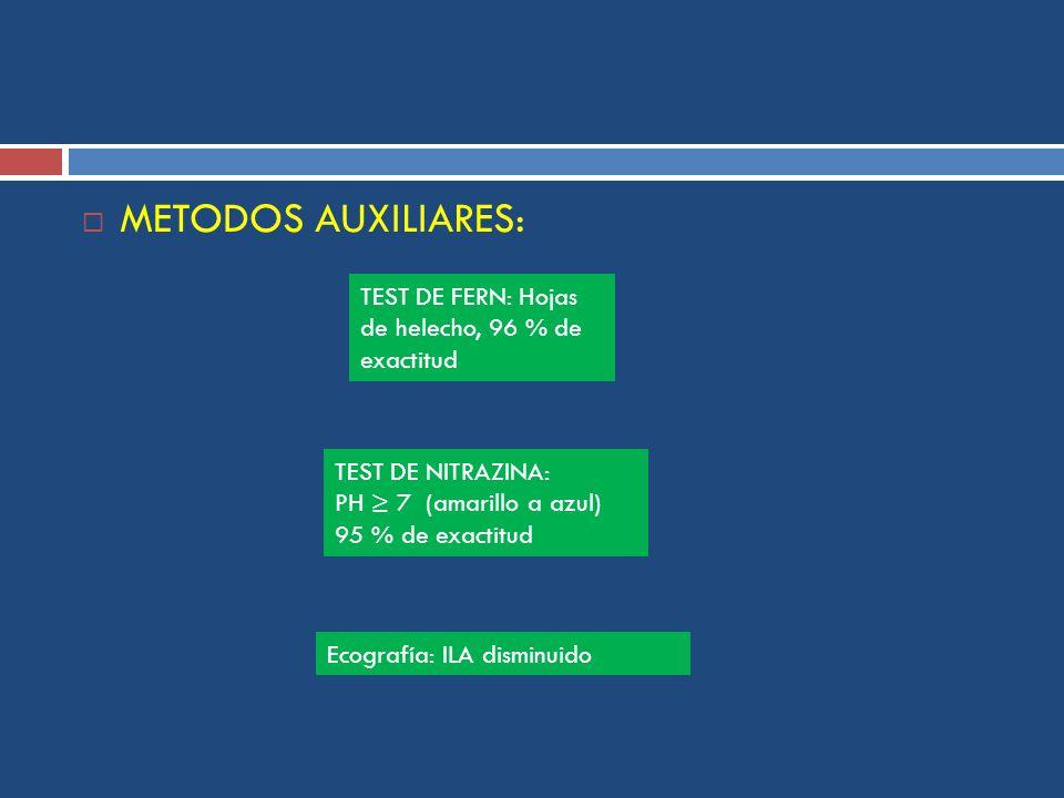 METODOS AUXILIARES: TEST DE FERN: Hojas de helecho, 96 % de exactitud