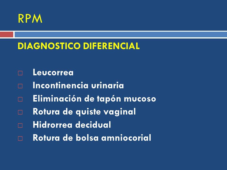 RPM DIAGNOSTICO DIFERENCIAL Leucorrea Incontinencia urinaria