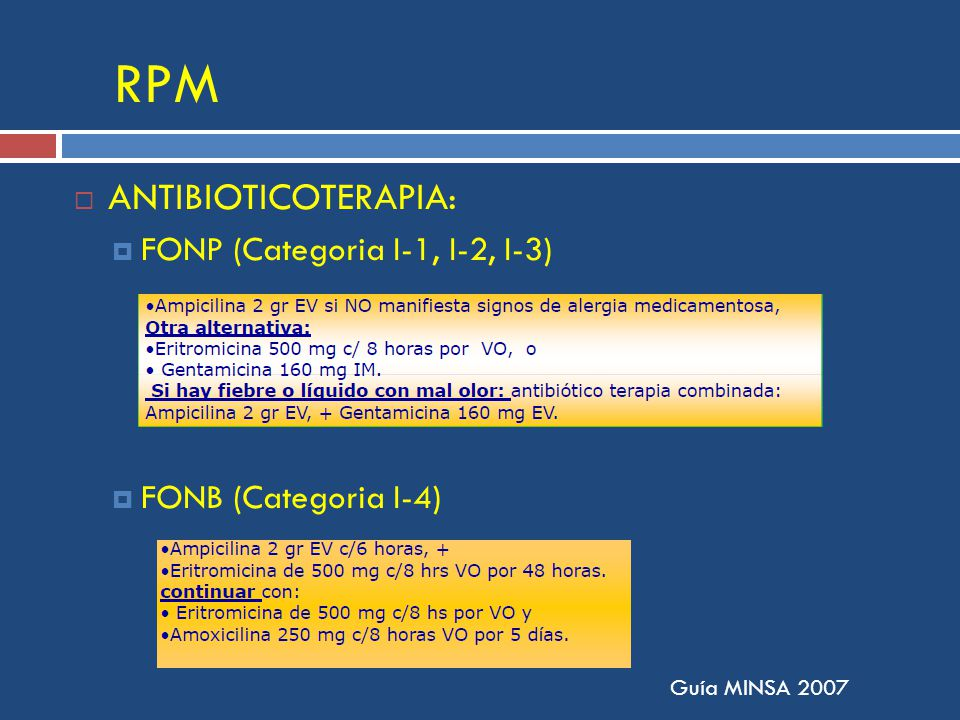 RPM ANTIBIOTICOTERAPIA: FONP (Categoria I-1, I-2, I-3)