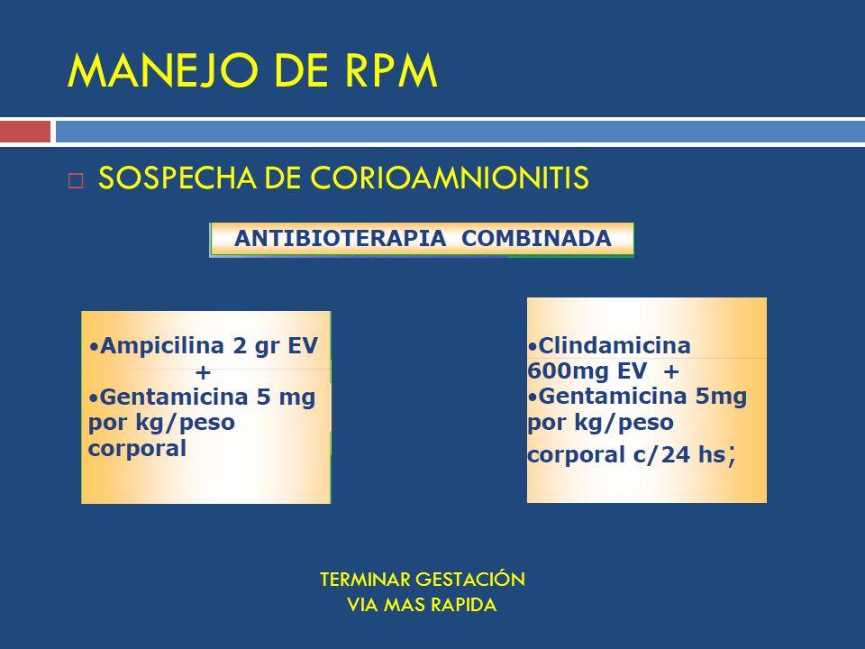 MANEJO DE RPM SOSPECHA DE CORIOAMNIONITIS TERMINAR GESTACIÓN