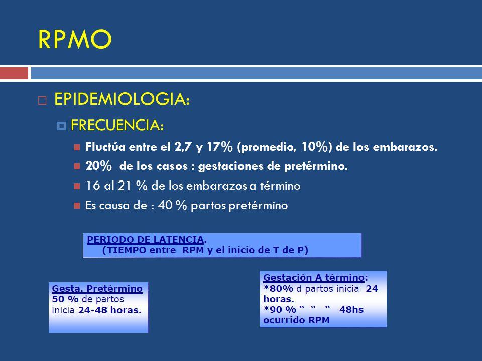RPMO EPIDEMIOLOGIA: FRECUENCIA: